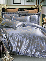 cheap -Duvet Cover Sets Solid Colored / Luxury Polyster Jacquard 4 PieceBedding Sets