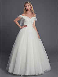cheap -Ball Gown Wedding Dresses Off Shoulder Floor Length Lace Tulle Sleeveless Sexy with Lace Ruffles 2020