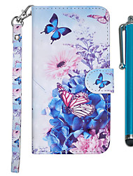 cheap -Case For Samsung Galaxy J7 (2017) / J6 (2018) / J6 Plus Wallet / Card Holder / with Stand Full Body Cases Butterfly / Flower Hard PU Leather