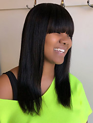 cheap -Human Hair Blend Wig Medium Length Straight Natural Straight Layered Haircut Black Simple Fashionable Design New Capless Women's All Natural Black / African American Wig / For Black Women