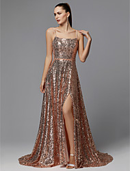 cheap -A-Line Elegant Formal Evening Dress Spaghetti Strap Sleeveless Sweep / Brush Train Sequined with Sequin 2020