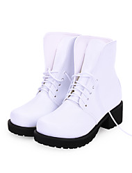 cheap -Women's Lolita Shoes Boots Punk Wedge Heel Shoes Solid Colored 5 cm White Red PU Leather Halloween Costumes
