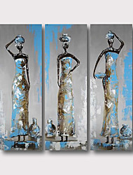 cheap -Oil Painting Hand Painted - Abstract Abstract Landscape Comtemporary Modern Stretched Canvas / Three Panels