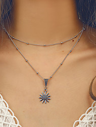 cheap -Women's Pendant Necklace Necklace Double Layered Sunflower Vintage European Ethnic Boho Chrome Silver 42+5.5 cm Necklace Jewelry 2pcs For Daily Street Work Club / Layered Necklace