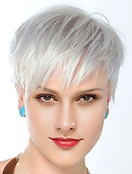 cheap -Human Hair Blend Wig Short Straight Natural Straight Layered Haircut Silver New Comfortable African American Wig Capless Women's All Sliver White