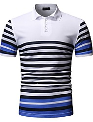 cheap -Men's Striped Print Polo Business Work White / Black