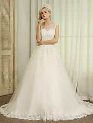 cheap -Ball Gown Jewel Neck Chapel Train Lace / Tulle Regular Straps Wedding Dresses with Lace / Bow(s) / Beading 2020