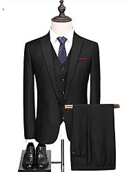 cheap -Solid Colored Tailored Fit Polyster Suit - Notch Single Breasted One-button / Single Breasted Two-buttons