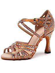 cheap -Women's Dance Shoes Silk Latin Shoes Crystal / Rhinestone Heel Slim High Heel Customizable Black / Brown / Performance