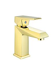 Недорогие -Ванная раковина кран - Широко распространенный Золотой / Золотая роза Другое Одной ручкой одно отверстиеBath Taps