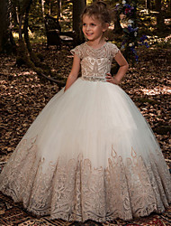 cheap -Ball Gown Sweep / Brush Train Wedding / Birthday / Pageant Flower Girl Dresses - Cotton / Lace / Tulle Short Sleeve Jewel Neck with Lace / Belt / Embroidery