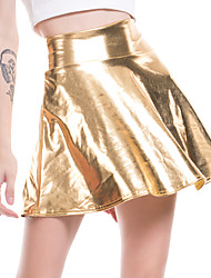 cheap -Women's Sexy PU Mini Swing Skirts - Solid Colored Blushing Pink Gold Green S M L
