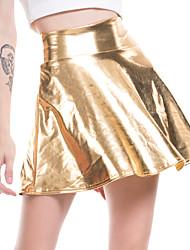 cheap -Women's Sexy PU Mini Swing Skirts Solid Colored