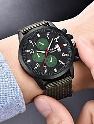 cheap -Men's Dress Watch Quartz Luxury Fake Three Eyes Six Needles Casual Watch Analog Black Light Green Dark Green / One Year / Nylon