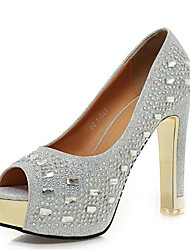 cheap -Women's Synthetics Spring &  Fall Heels Chunky Heel Peep Toe Sequin / Sparkling Glitter Gold / Silver / Red / Wedding / Party & Evening