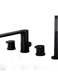 cheap -Shower Faucet Chrome Roman Tub Ceramic Valve Bath Shower Mixer Taps / Brass / Two Handles Four Holes