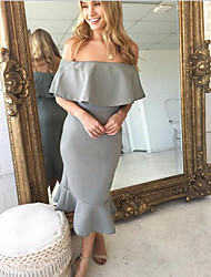 cheap -Off Shoulder Tea Length Charmeuse Bridesmaid Dress with by Lightinthebox
