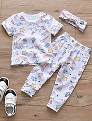 cheap -Baby Girls' Casual / Active Print Print Short Sleeve Regular Cotton Clothing Set White / Toddler