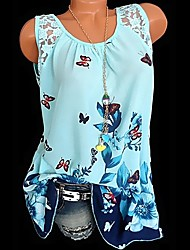cheap -Women's Slim Tank Top - Floral / Animal Lace / Patchwork / Print Green