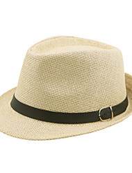 cheap -Men's Active 1930s Linen Straw Straw Hat-Solid Colored Summer Brown Black Beige