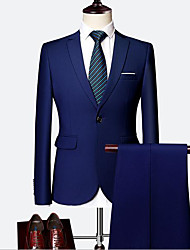 cheap -Royal Blue / Ivory / Grape Solid Colored Standard Fit Cotton Suit - Notch Single Breasted Two-buttons