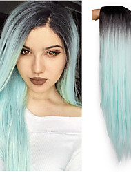 cheap -Synthetic Wig Straight Jenner Pixie Cut Wig Ombre Long Mint Green Synthetic Hair 26 inch Women's Adjustable Heat Resistant Easy dressing Green Ombre