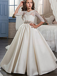 cheap -Ball Gown Sweep / Brush Train Flower Girl Dress - Lace / Satin Half Sleeve V Neck with Beading / Appliques / Crystals / Rhinestones