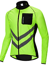 cheap -WOSAWE Men's Windbreaker Cycling Jacket Wind Jacket Winter Woven Bike Jersey Raincoat Top Windproof Sports Patchwork Black / Orange / Green Mountain Bike MTB Road Bike Cycling Clothing Apparel Bike