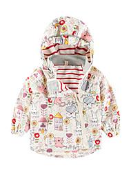 cheap -Kids Girls' Basic Street chic Geometric Color Block Patchwork Regular Trench Coat Beige