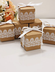 cheap -Cubic Kraftpaper Favor Holder with Ribbons Household Sundries / Favor Boxes / Gift Boxes - 50 pcs