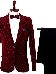 cheap -Burgundy Patterned Slim Fit Nylon Suit - Notch Single Breasted One-button