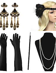 cheap -Necklace Earrings Costume Accessory Sets Outfits Masquerade Retro Vintage 1920s The Great Gatsby Artificial feather For The Great Gatsby Cosplay Halloween Carnival Women's Costume Jewelry Fashion