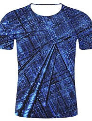 cheap -Men's Plus Size T-shirt Geometric 3D Graphic Print Tops Statement Art Deco / Retro Round Neck Blue