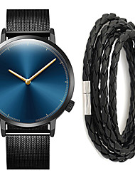 cheap -Men's Steel Band Watches Quartz Gift Set Stainless Steel Black / Silver No Chronograph Cute Casual Watch Analog Minimalist New Arrival - Black / Blue White / Silver Black One Year Battery Life