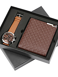 cheap -Men's Dress Watch Quartz Gift Set New Arrival Calendar / date / day Leather Black / Brown Analog - Black Brown One Year Battery Life / Chronograph / Large Dial
