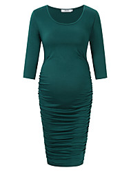cheap -Women's Knee-length Maternity Green Dress Basic Sheath Solid Colored S L