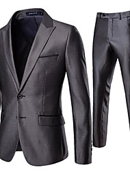 cheap -Gray Solid Colored Tailored Fit Polyester Suit - Peak Single Breasted Two-buttons