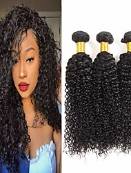 cheap -3 Bundles Brazilian Hair Kinky Curly 100% Remy Hair Weave Bundles 300 g Natural Color Hair Weaves / Hair Bulk Bundle Hair One Pack Solution 8-28 inch Natural Color Human Hair Weaves Cosplay Thick