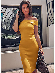 cheap -Women's Yellow Red Dress Basic Cocktail Party Bodycon Sheath Solid Colored Off Shoulder S M