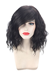 cheap -Synthetic Wig Curly Wavy Emma Pixie Cut Neat Bang Wig Short Natural Black Synthetic Hair 14 inch Women's Adjustable Heat Resistant Easy dressing Black