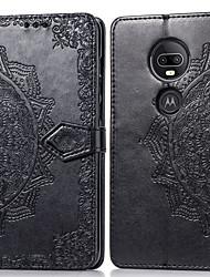 Недорогие -Кейс для Назначение Motorola Мото G7 Бумажник для карт / Флип Чехол Однотонный Твердый Кожа PU