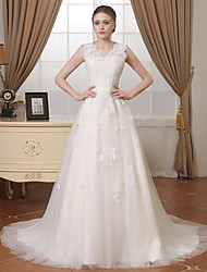cheap -A-Line V Neck Chapel Train Lace / Tulle Regular Straps Wedding Dresses with Lace / Beading / Appliques 2020