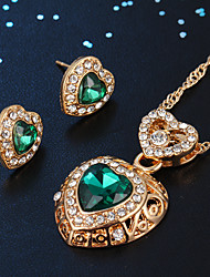 cheap -Women's Stud Earrings Pendant Necklace Classic Heart Stylish Classic Rhinestone Gold Plated Earrings Jewelry Green For Daily Work 1 set