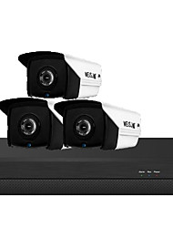cheap -3 million H.265 POE 3 sets of surveillance cameras Household equipment POE network audio HD night vision camera set meal