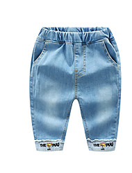 cheap -Kids Boys' Basic Street chic Solid Colored Print Patchwork Print Cotton Jeans Blue