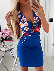 cheap -Women's 2020 Blue White Dress Spring & Summer Bodycon Floral Deep V S M