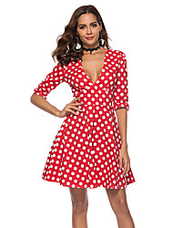 cheap -Audrey Hepburn Country Girl Polka Dots Retro Vintage 1950s Wasp-Waisted Rockabilly Dress Masquerade Women's Costume Red / Blue Vintage Cosplay Party Daily Homecoming Half Sleeve