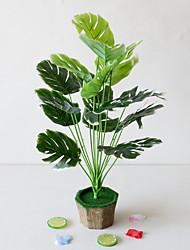 Недорогие -1 шт. Простой творческий симулятор растение в горшке зеленые листья инженерные зеленые листья 18 вилка черепаха задние листья офис гостиная исследование украшения зеленые растения