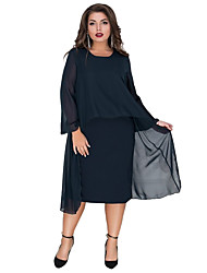 cheap -Women's Plus Size Sheath Dress - Long Sleeve Solid Colored Layered Patchwork Spring & Summer Elegant Slim 2020 Blue Royal Blue XL XXL XXXL XXXXL XXXXXL XXXXXXL