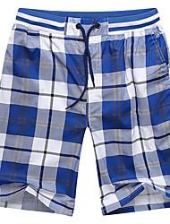 cheap -Men's Basic Shorts Pants - Plaid / Checkered Blue Yellow Light Blue XXXL XXXXL XXXXXL